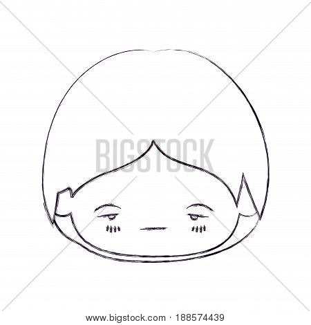 blurred thin silhouette of kawaii head of little boy with facial expression nervous vector illustration