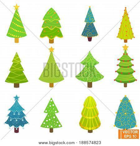 Set Of Festive Christmas Trees