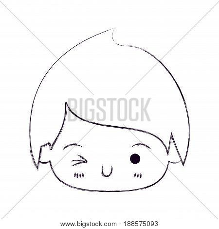 blurred thin silhouette of kawaii head of little boy winking eye vector illustration