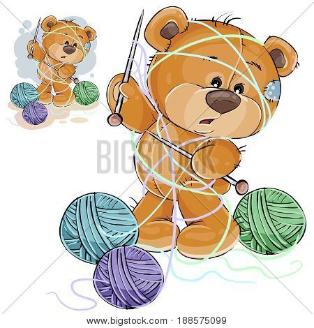 Vector illustration of a brown teddy bear holding a knitting needle in its paw and tangled in threads, handicrafts. Print, template, design element