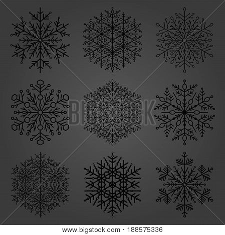 Set of dark snowflakes. Fine winter ornament. Snowflakes collection. Snowflakes for backgrounds and designs