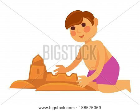 Little boy in violet shorts making sand castle isolated on white. Vector colorful illustration in flat design of young male spending hot summer holidays outdoors and creating building on beach