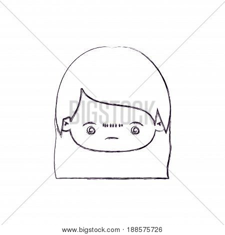 blurred thin silhouette of kawaii head little girl with straight hair and facial expression bored vector illustration