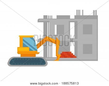 Orange powerful excavator and unfinished grey building behind with pile of red bricks at ground floor isolated vector illustration on white background. Construction process with use of machinery.