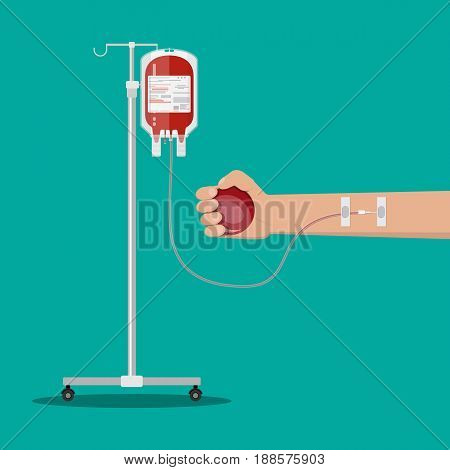 Blood bag at holder and hand of donor with ball. Blood donation day concept. Human donates blood. Vector illustration in flat style.