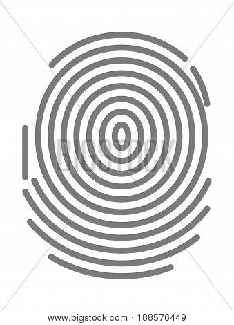 Black dactylogram, person identification mark for documents, personal identity symbol. Fingerprint type with circular line signs isolated on white background vector illustration in flat design.