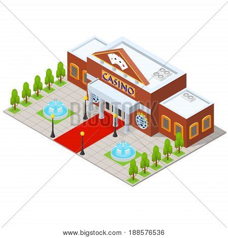 Casino Building Isometric View Gambling Game Urban Architecture Modern Exterior Facade for Web. Vector illustration
