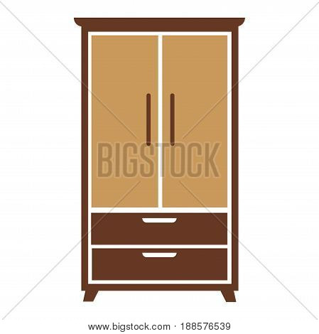 Brown wooden simple cartoon wardrobe with beige chest of drawers and specious cabinets big isolated on white background. Room furniture for collecting stuff and decoration vector illustration.