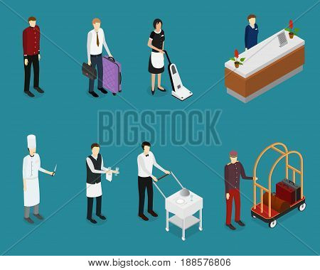Hotel Service People Staff Set Isometric View Professional Person Man and Woman Receptionist, Customer and Waitress. Vector illustration