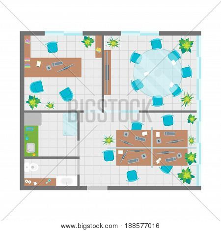 Architecture Office Plan with Furniture Top View Basic Project Interior Organization Workspace. Vector illustration