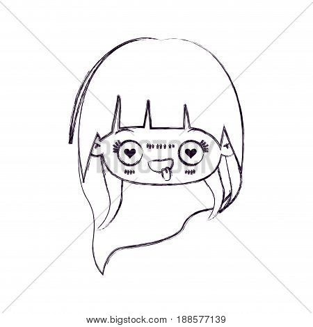 blurred thin silhouette of kawaii head little girl with long hair and facial expression enamored vector illustration