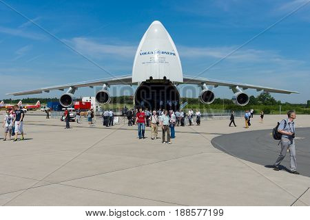 BERLIN GERMANY - MAY 21 2014: The Antonov An-124 Ruslan is a strategic airlift jet aircraft. Volga-Dnepr Airlines - Russian company specialized transportation of oversized cargo. Exhibition ILA Berlin Air Show 2014
