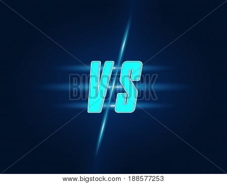 Competition vs on Dark Background Concept for Match Game, Martial Battle or Sport. Vector illustration