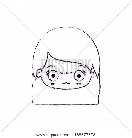 blurred thin silhouette of kawaii head of cute little girl with straight hair and facial expression depressed vector illustration