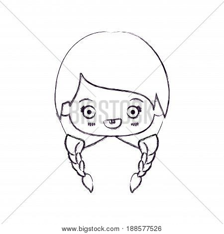 blurred thin silhouette of kawaii head of cute little girl with braided hair and smiling vector illustration