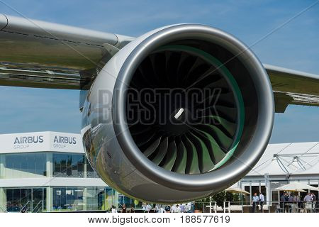 BERLIN GERMANY - MAY 21 2014: A turbofan engine Rolls-Royce Trent 900 the largest aircraft in the world - Airbus A380. Emirates Airline. Exhibition ILA Berlin Air Show 2014