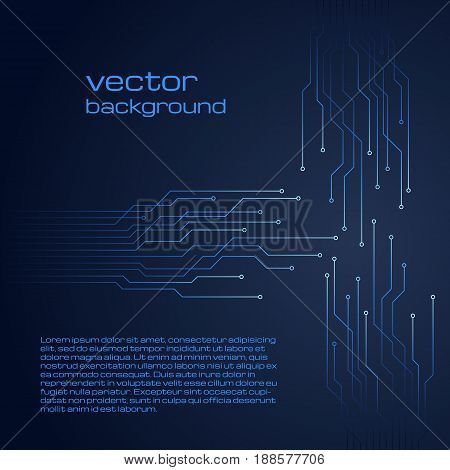 Abstract technological dark blue background with elements of the microchip. Circuit board background texture. Vector illustration.