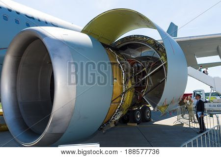 BERLIN GERMANY - MAY 21 2014: Jet engine General Electric CF6-80C2 turbofans aircraft Airbus A310 Multi Role Tanker Transport (MRTT). German Air Force. Exhibition ILA Berlin Air Show 2014