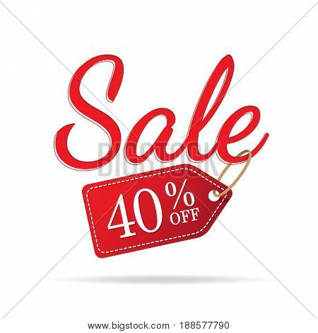 Vol.3 Sale Sign Set Red On White Background 40 Percent Off Heading Design For Banner Or Poster. Sale