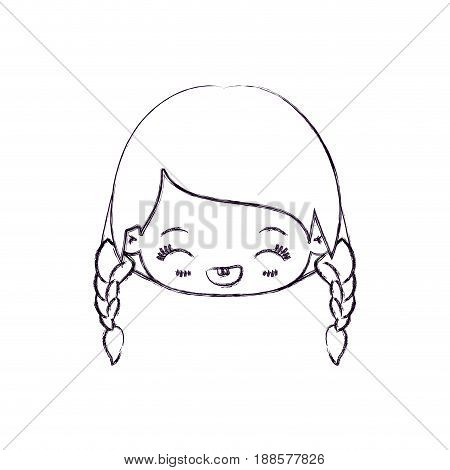 blurred thin silhouette of kawaii head little girl with braided hair and facial expression laughing vector illustration