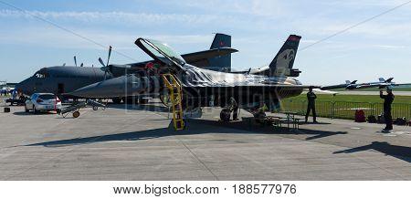 BERLIN GERMANY - MAY 21 2014: Lockheed Martin F-16 Turkish Air Force. Exhibition ILA Berlin Air Show 2014