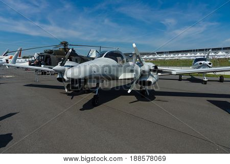 BERLIN GERMANY - MAY 21 2014: Airplane Diamond DA42 MPP Guardian. Exhibition ILA Berlin Air Show 2014