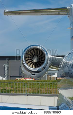 BERLIN GERMANY - MAY 21 2014: Jet engine Pratt & Whitney Canada PW535E turbofans Light business jet Embraer EMB-505 Phenom 300. Exhibition ILA Berlin Air Show 2014