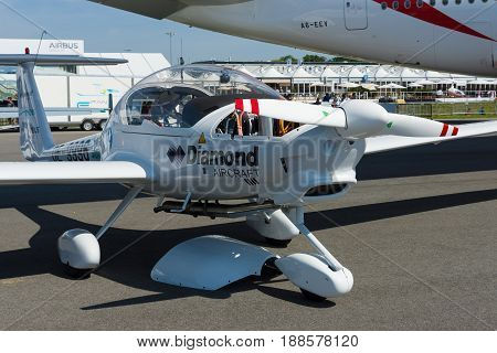 BERLIN GERMANY - MAY 21 2014: Light aircraft Diamond Aircraft DA36 E-Star 2. Exhibition ILA Berlin Air Show 2014