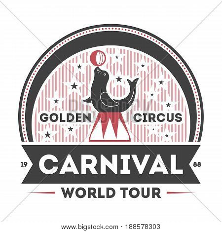 World carnival tour vintage symbol isolated on white background vector illustration. Fame spectacle and funfair label, welcome circus badge