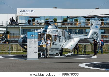 BERLIN GERMANY - MAY 21 2014: A light utility helicopter Eurocopter EC135 T2. Exhibition ILA Berlin Air Show 2014