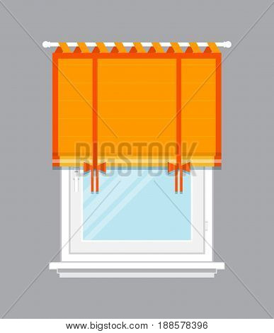 Modern window with orange jalousie isolated vector illustration. Architectural detail, window treatment, creative home interior object, building element in flat style