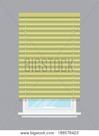 Apartment window with jalousie isolated vector illustration. Architectural detail, window treatment, creative home interior object, building element in flat style