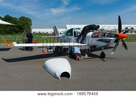 BERLIN GERMANY - MAY 21 2014: A two seat Turboprop training and aerobatic low-wing aircraft Grob G 120TP. Exhibition ILA Berlin Air Show 2014