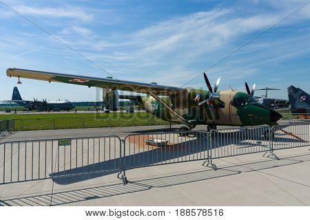 BERLIN GERMANY - MAY 21 2014: Military transport aircraft PZL M28B Bryza (development of licence-built Antonov An-28). Polish Air Force. Exhibition ILA Berlin Air Show 2014