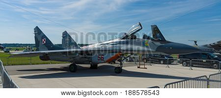 BERLIN GERMANY - MAY 21 2014: Air superiority fighter multirole fighter Mikoyan MiG-29. Polish Air Force. Exhibition ILA Berlin Air Show 2014