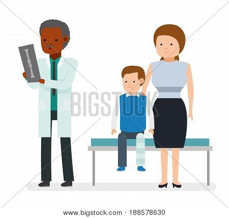 The traumatologist. The boy broke his leg, sitting on the couch with his mother. Leg plastered. Doctor looking at an x-ray. Vector illustration in a flat style