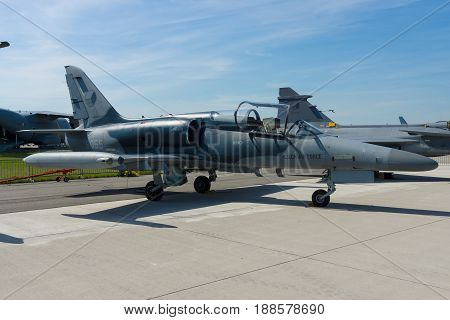 BERLIN GERMANY - MAY 21 2014: Military Advanced Light Combat Aircraft Aero Vodochody L-159 ALCA. Czech Air Force. Exhibition ILA Berlin Air Show 2014