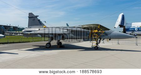 BERLIN GERMANY - MAY 21 2014: Fighter attack and reconnaissance aircraft Saab JAS 39 Gripen. Czech Air Force. Exhibition ILA Berlin Air Show 2014