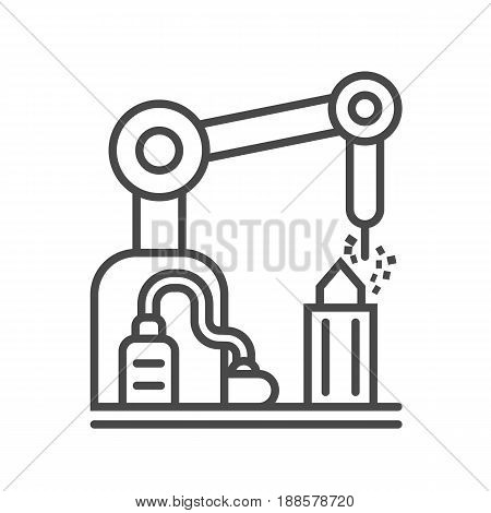Industrial factory linear icon isolated on white background vector illustration. Modern technology, industrial production pictogram.