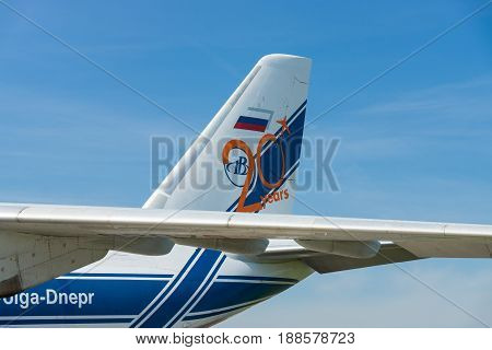 BERLIN GERMANY - MAY 21 2014: The empennage of the transport jet aircraft Antonov An-124 Ruslan. Exhibition ILA Berlin Air Show 2014