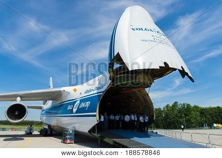 BERLIN GERMANY - MAY 21 2014: Antonov An-124 Ruslan is a transport jet aircraft. Volga-Dnepr Airlines - Russian company specialized transportation of oversized cargo. Exhibition ILA Berlin Air Show 2014