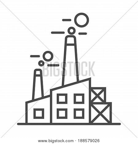 Heavy industry plant linear icon isolated on white background vector illustration. Modern technology, industrial production pictogram.
