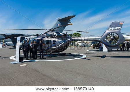 BERLIN GERMANY - MAY 21 2014: A twin-engine light utility helicopter - Eurocopter EC145 T2. Exhibition ILA Berlin Air Show 2014