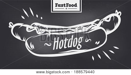 Vector hand drawn hotdog poster or card. Sketch cards. Cute vintage illustrations. Vector stock illustration. . Hotdogs background. Template for design or tshirt.