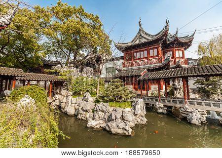 Pavilion in Yuyuan garden, Shanghai, China. January 2017.