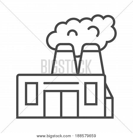 Heavy industry factory linear icon isolated on white background vector illustration. Modern technology, industrial production pictogram.