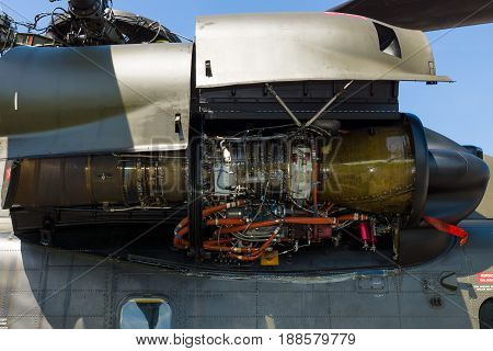 BERLIN GERMANY - MAY 21 2014: A turboshaft engine General Electric T64-GE-413 of a heavy-lift cargo helicopter Sikorsky CH-53 Sea Stallion. Exhibition ILA Berlin Air Show 2014
