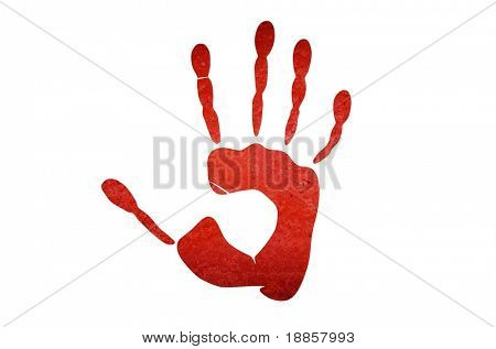 Red stop handprint on the white wall