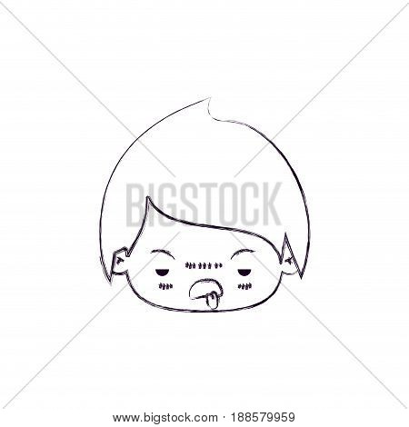 blurred thin silhouette of kawaii head of little boy with unpleasant facial expression vector illustration