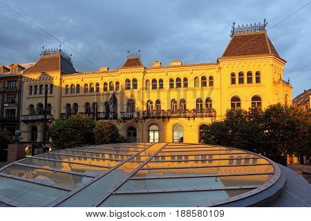 Oslo - centre at a dramatic sunset, Norway